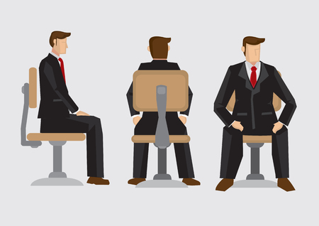 swivel: illustration front, back and side view of business professional wearing formal three-piece suit sitting on office swivel chair isolated on plain background.