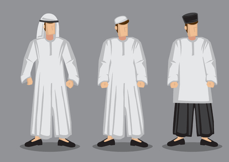 illustration of three Muslim men in different traditional costumes and headwear isolated on grey background.