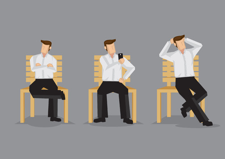handphone: Cartoon man on a bench in relaxed sitting positions, cross-legged with folded arms, taking selfie with handphone and hands behind head. Set of three illustrations isolated on grey background. Illustration