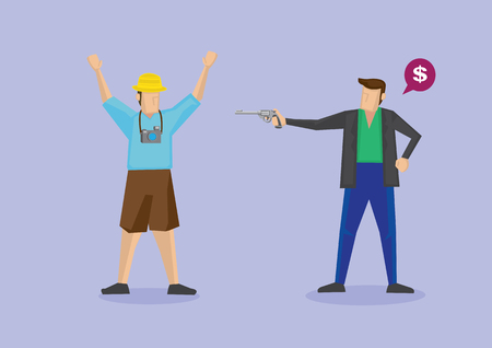 gunpoint: Robber pointing a handgun at tourist and asking for money. illustration of isolated cartoon characters for concepts related to tourist robbery and travel safety.