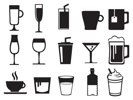champagne flute: Black and white icon set of drinks in variety of glasses and cups isolated on white background.