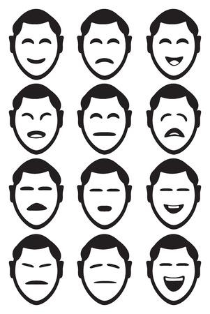 Männliche Zeichentrickfigur Mimik mit verschiedenen Formen von Augen und Mund, um verschiedene Gefühle und Emotionen darzustellen. Set von zwölf Symbole auf weißem Hintergrund.