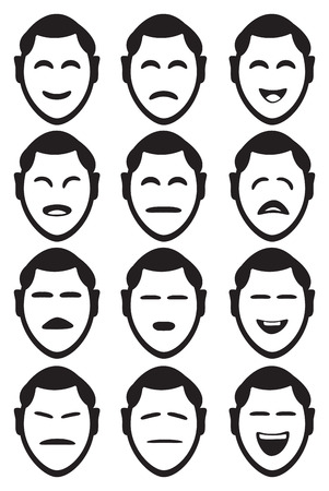 Male cartoon character facial expressions with different shapes of eyes and mouths to depict various feelings and emotions. Set of twelve icons isolated on white background.