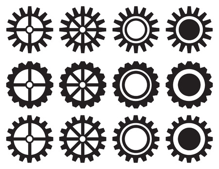 Set of twelve isolated black and white gears and cogwheels icon design. Vetores