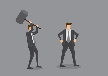 Cartoon businessman holding a huge mallet ready to hammer another unaware guy. Creative cartoon characters for office politics concept, isolated on grey background. Stock Illustratie
