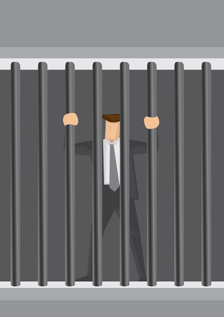 jailbird: Cartoon businessman character locked behind bars as prisoner. Creative illustration related to white collar crime concept.