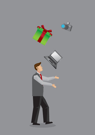 man side view: Side view of modern man juggling gift box, laptop computer and SLR camera. Creative illustration for consumerism concept isolated on grey background. Illustration