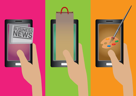 hand holding smart phone: Hand holding smart phone with business news, online shopping and digital painting applications. Creative cartoon illustration on smart phone technology concept isolated on plain colorful background.
