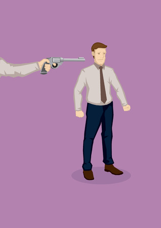 sacked: Hand from the side pointing a gun at office worker. illustration on being made redundant at work concept isolated on plain background.