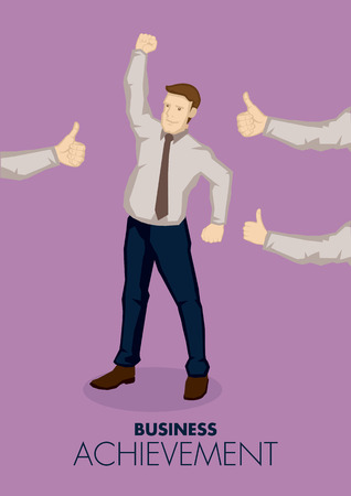Cartoon businessman in raising fist in victory gesture and arms from the side giving him thumbs up. illustration on business achievement concept.