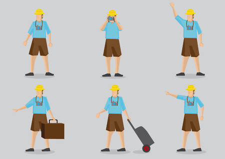 Set of six cartoon character of a typical tourist wearing bright clothing, carrying camera and luggage isolated on grey background.