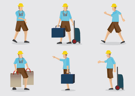 rolling bag: Cartoon tourist on vacation with baggage and camera hanging on his neck. Set of six vector character illustrations isolated on plain background. Illustration