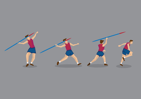 sequence: Action sequence of track and field athlete throwing javelin. Vector Character Illustration isolated on grey background.