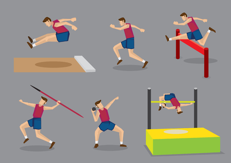 salto de longitud: ilustración vectorial atleta haciendo diferentes deportes de pista y campo, salto de longitud, correr, vallas, lanzamiento de jabalina, lanzamiento de peso y salto de altura, aislado sobre fondo gris.