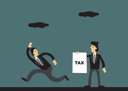 derecho penal: Empresario de dibujos animados huyendo de recaudador de impuestos. Ilustración del vector en concepto de evasión de impuestos. Vectores