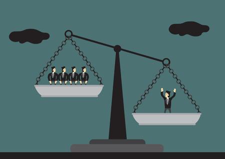 Uno de los hombres sobre las balanzas es más pesado que muchos hombres en el otro lado. Vector ilustración de dibujos animados en el concepto de un capital humano valioso. Ilustración de vector