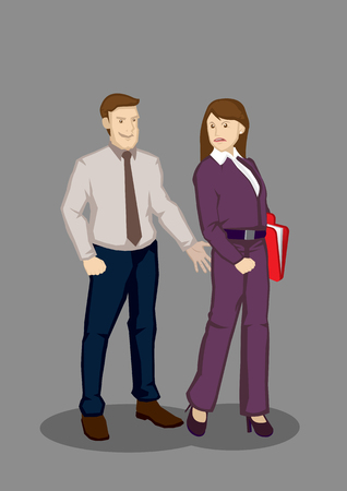 nuisance: Cartoon man extending hand to grab buttocks of female colleague. Vector illustration on inappropriate behavior work concept isolated on grey background.