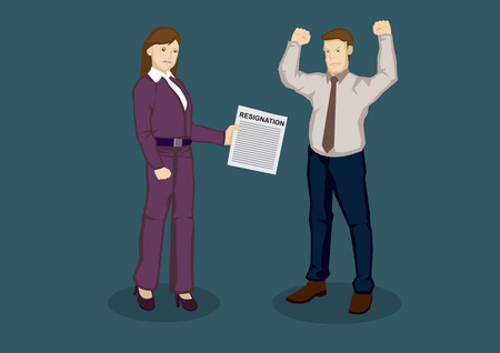 resignation: Upset female business executive handing angry employer letter of resignation. Cartoon vector illustration on job resignation on terms concept isolated on green background.
