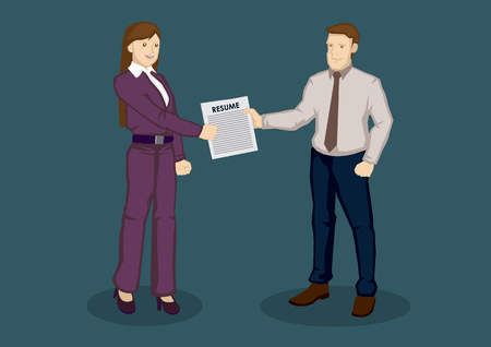 handing: Cartoon businessman handing over resume to business woman in person. Vector illustration on resume submission for job application concept isolated on green background. Illustration
