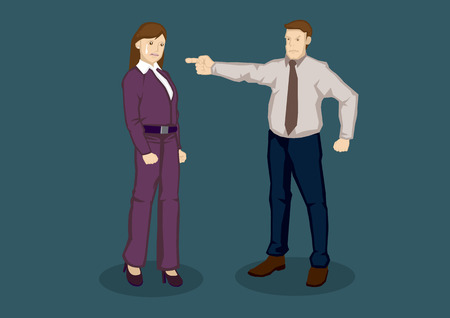 scolded: Cartoon woman worker scolded by boss and cried. Vector illustration of being upset at work concept isolated on plain green background. Illustration