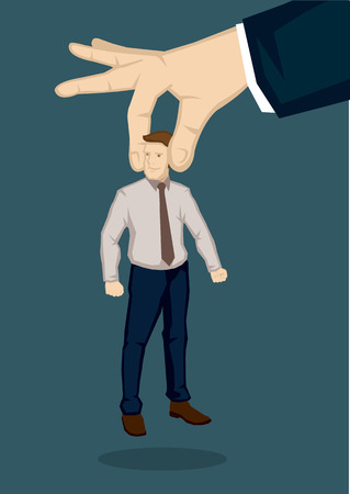 picking up: Vector illustration huge hand picking up a man. Creative vector illustration on handpicking the best man for the job concept isolated on green background.