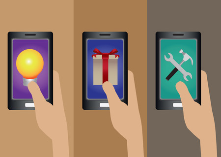 holding smart phone: Set of three vector illustrations of hand holding smart phone with symbol for software applications on touch screen isolated on plain brown background.