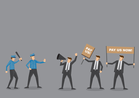 wages: Police trying to control angry employees on protest to demand for wages. Cartoon vector illustration concept for social issues isolated on grey background.