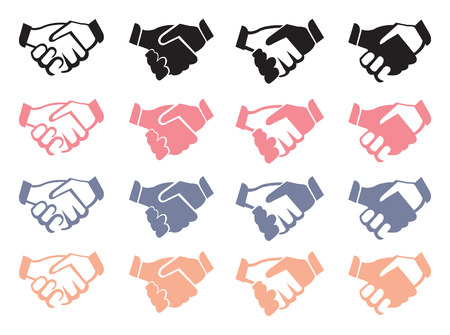 ethic: Vector illustration of business handshake icons in four different designs and colors isolated on white background.