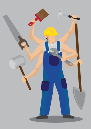 labor strong: Vector illustration of a cartoon construction worker character in blue overall and yellow helmet with multiple arms holding a variety of work tools.
