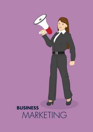 loud hailer: Vector illustration of smart young cartoon businesswoman holding hand-held megaphone for business marketing and promotion concept isolated on plain purple background.