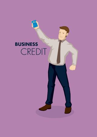 astute: Cartoon businessman holding a corporate business credit card with text business and credit. Vector illustration on business credit concept isolated on purple background.