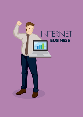 fullbody: Businessman holding a laptop computer with bar chart showing growth on screen and his free punching the air in winning gesture. Vector illustration on internet business concept isolated on plain background.