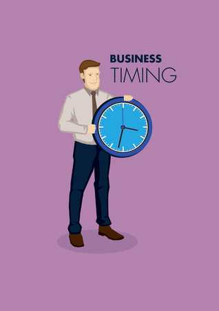 astute: Cartoon businessman holding a clock with text business and timing. Vector illustration on time concept in business context isolated on purple background. Illustration