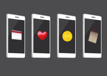 tilted: White cell phones, slightly tilted to show buttons at the side, with application icons, on screen. Set of four vector illustrations isolated on grey background.