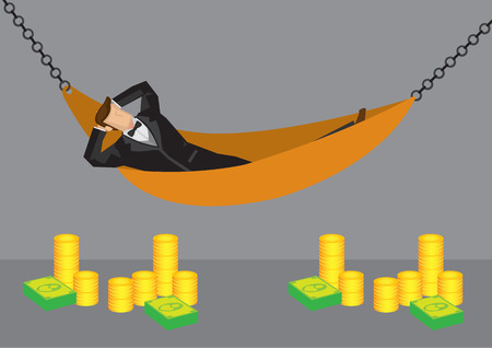 financial freedom: Cartoon man relaxing in hammock with stack of dollar notes and gold coins in the foreground. Vector illustration on wealth and financial freedom concept isolated on grey background.