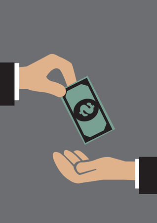 bailout: One hand giving a dollar note to a receiving hand. Conceptual vector illustration in simple graphic style isolated on grey background.