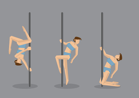 flexible sexy: Set of three vector illustration of sexy lady doing pole dancing moves isolated on grey background.