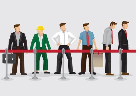 Ilustración del vector de la gente, jóvenes y viejos, de pie en la fila detrás de las barreras de cola aislados en el fondo liso.