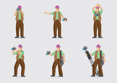 cargo pants: Man carrying camera and other photography equipment in different gestures. Vector cartoon character illustration isolated on plain background.