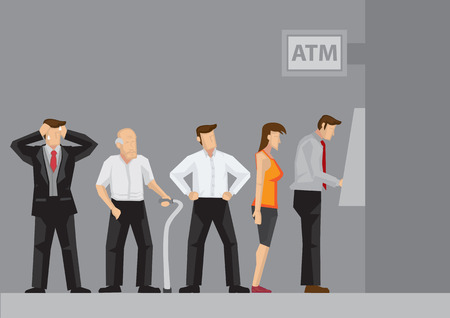 impatient: Young and old people waiting in line to draw money from self-service Automated Teller Machine. Cartoon vector illustration isolated on grey background. Illustration
