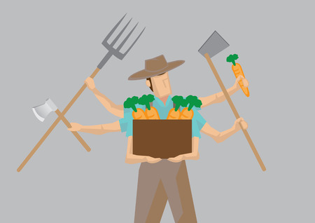 countryman: illustration of busy farmer cartoon character with multiple arms holding different work tools isolated on plain grey background. Illustration