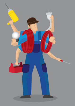 odd jobs: Cartoon character of a super handyman worker with multiple arms with different work tools isolated on grey background.