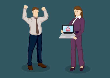Employer angry with upset worker whose laptop is infected by computer virus. Cartoon illustration for web security for business concept isolated on green background. Illustration