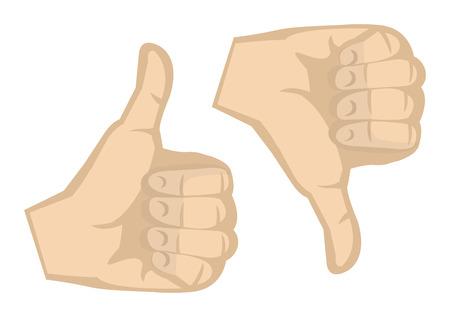 irrespeto: Pulgares arriba y pulgares hacia abajo gesto de la mano aisladas sobre fondo blanco. Vectores