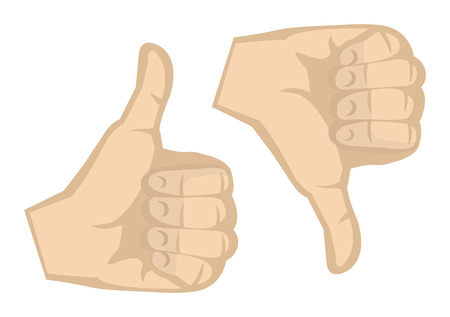 thumbs down: Thumbs up and thumbs down hand gesture isolated on white background.