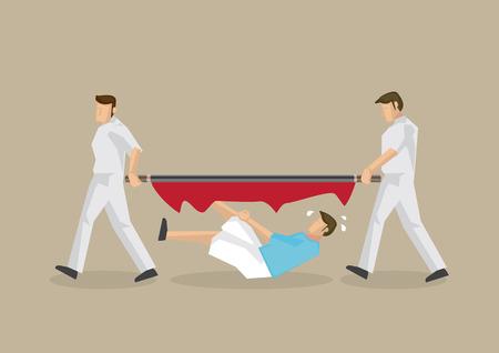 hombre desafortunado cae a través de una camilla rota llevada por dos paramédicos Ilustración de vector