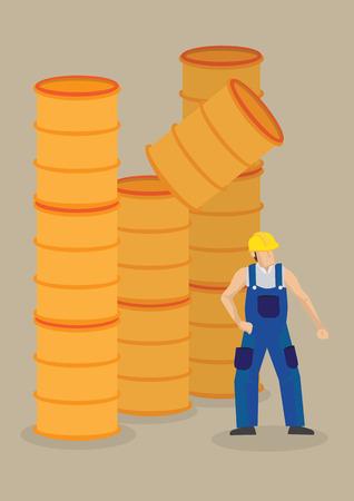 Worker under a falling barrel