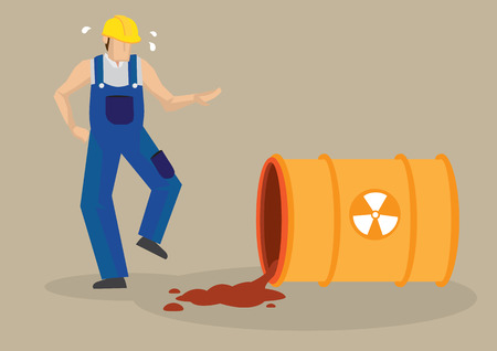 occupational risk: Worker panicking beside a spilt barrel with radioactive symbol sign.