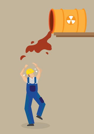occupational risk: Chemical substance flowing out f barrel with radioactive symbol and worker standing below. Illustration