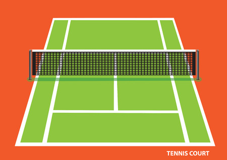 hard court: Green tennis court with low net stretched across the center, viewed slightly from top with visible length and width. Vector illustration of  isolated on bright orange background.